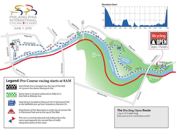 The 2015 Bicycling Open course. (image complements of www.philadelphiainternationalcyclingclassic.com