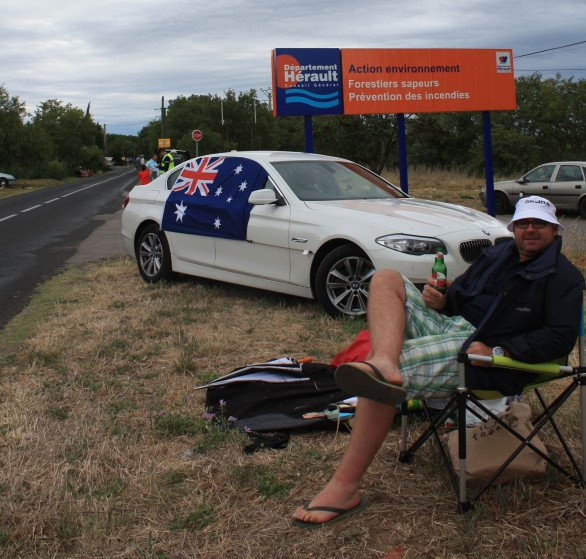 Our spot about 10km from the finish of Stage 15 in Montpellier....C'Mon Aussie!