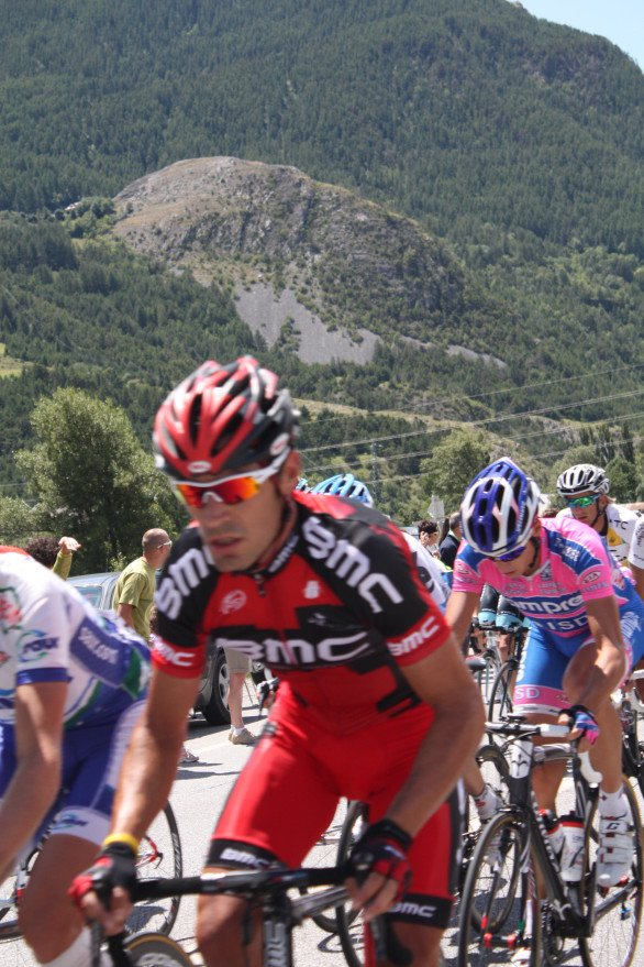 Some action from Stage 17; Gorgeous George Hincapie looking after our boy Cadel. (July 201, 2011)