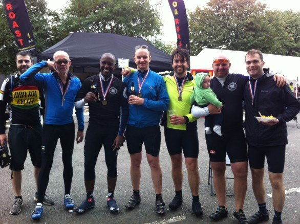 "Our motley old crew enjoying a bevvy post ""Ride around London"" (September 30, 2012)"