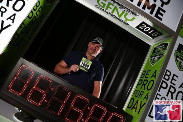 At the time predictor photo booth at the Gran Fondo New York bike expo. (May 14, 2016)
