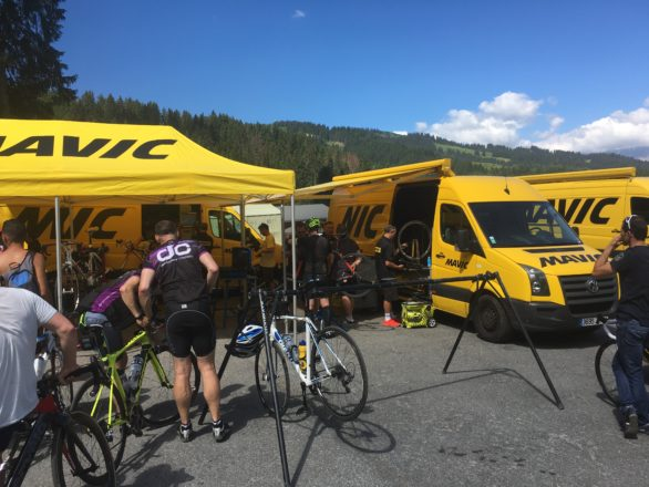 Mavic mechanics on hand at the Race Village for some last minute bike adjustments. I'd hit a pot hole earlier that morning and my front wheel needed truing.