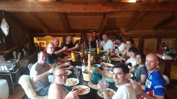 The last supper getting at much pasta on board as poss. Not many smiles....pre race nerves perhaps?