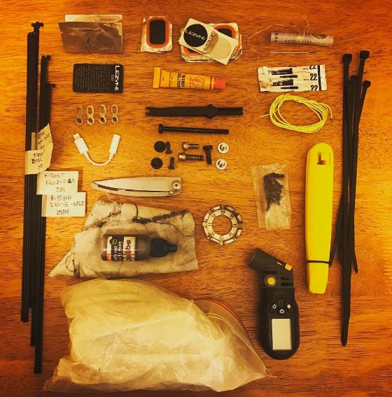 Tools etc that a racer in the Indian Pacific Bike Race is packing (Photo Credit: bright.christie Instagram)