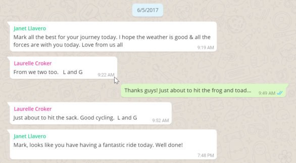 Monday June 5, 2017. Motivating WhatsApp messages from my sister and parents in Australia. (note the times have been converted back to east coast time)